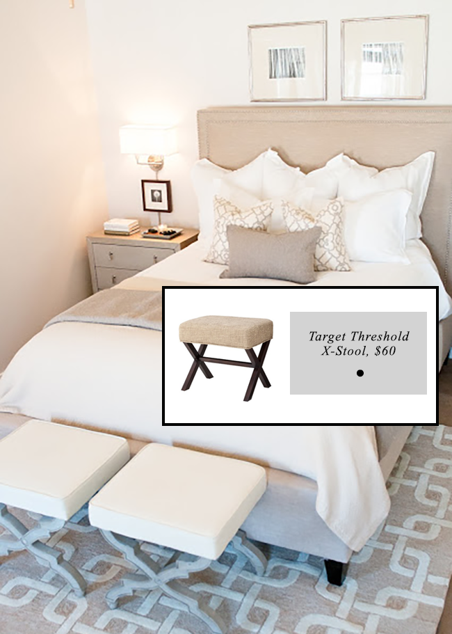 Foot stools at end of bed