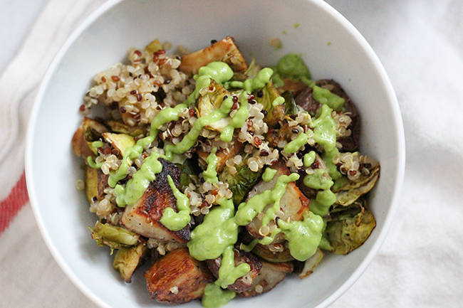 Roasted Veggie Bowl with Avocado Dressing