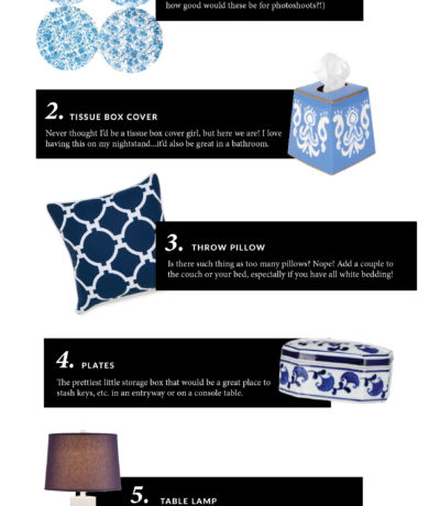 Blue & white decor