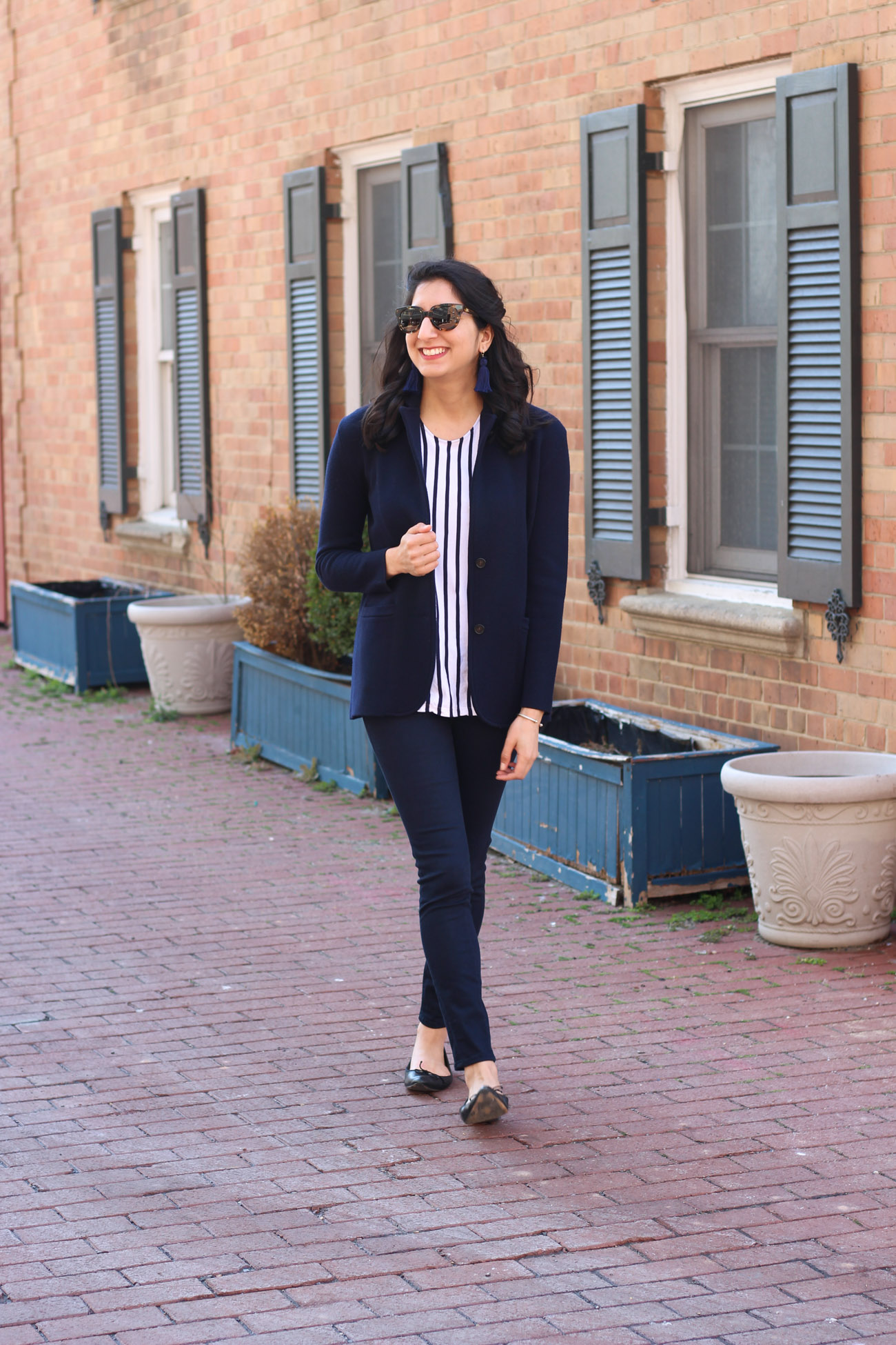 Navy blazer and striped top