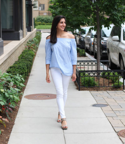 Blue & white off the shoulder top