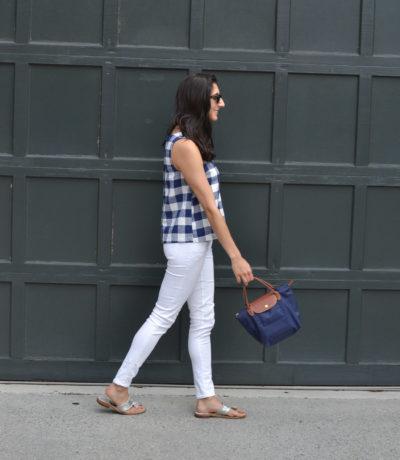 Reviewing the Longchamp Mini Le Pliage handbag by popular Washington DC fashion blogger, Monica Dutia