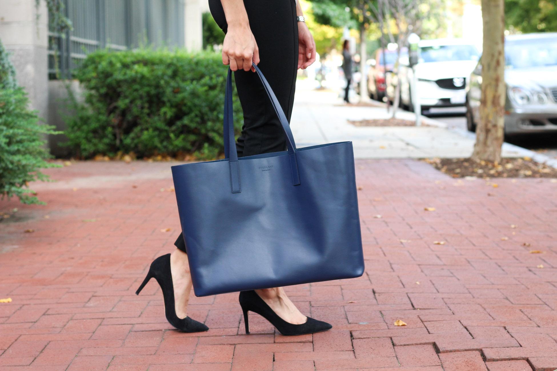 Fall workwear - Everlane Day Market Tote styled by popular Washington DC style blogger, Monica Dutia