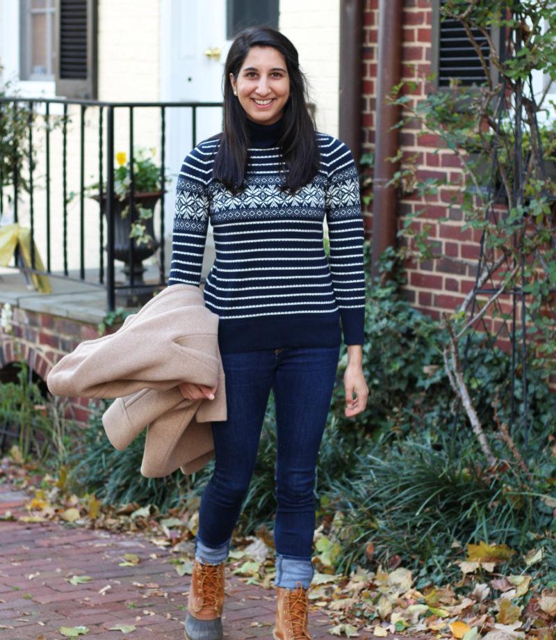 L.L. Bean snowflake turtleneck sweater