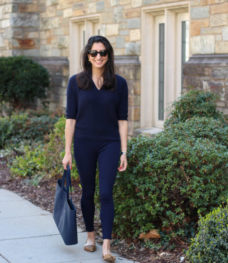 All navy outfit featured by popular DC fashion blogger, Monica Dutia