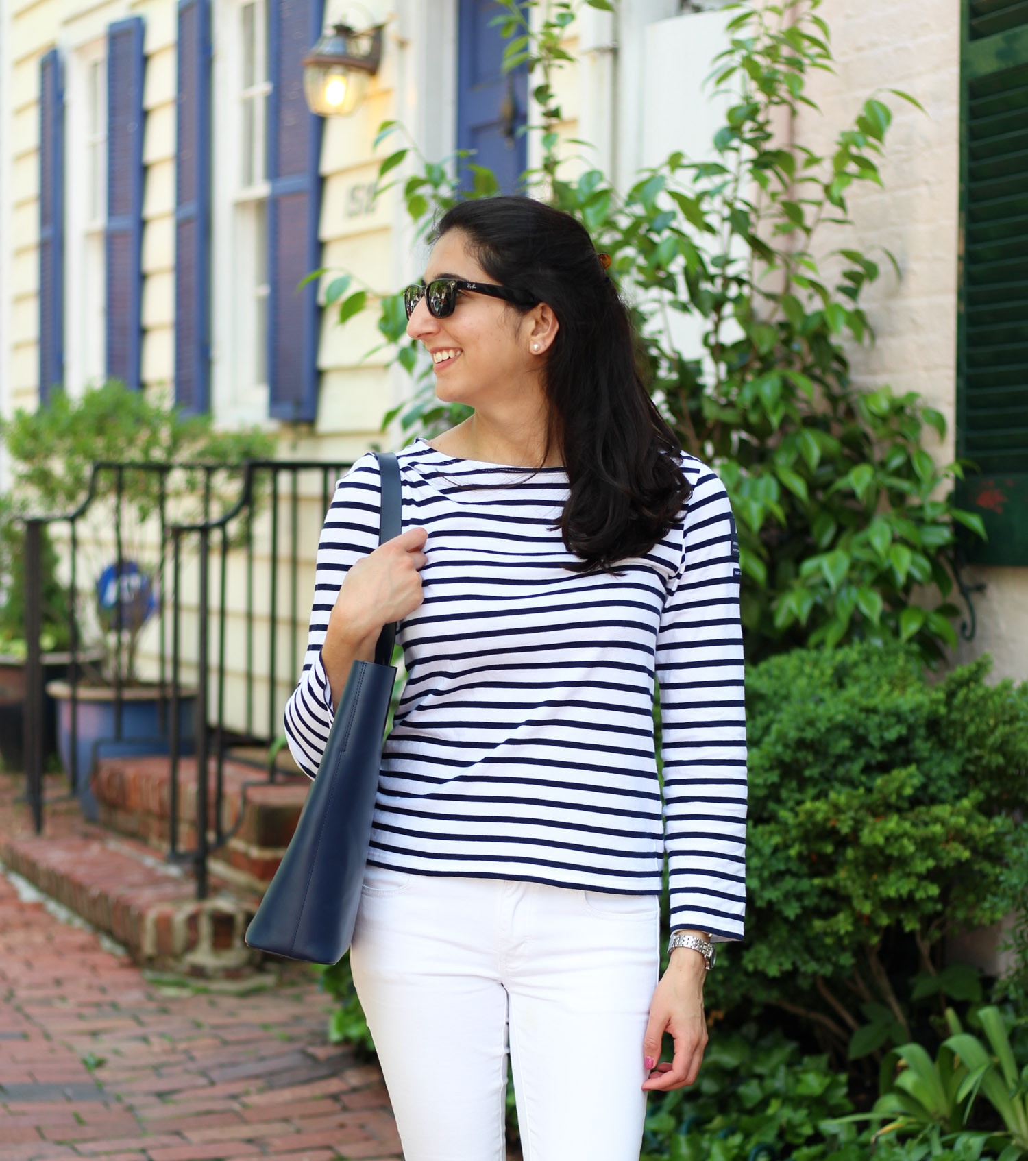 Casual striped style - Royal Wedding Thoughts + Comfy Leather Flats featured by DC Style Blogger, Monica Dutia