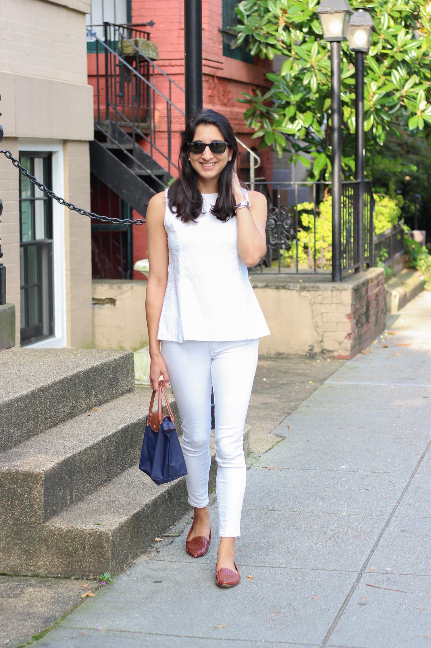 Duffield Lane white seersucker top featured by popular DC fashion blogger, Monica Dutia