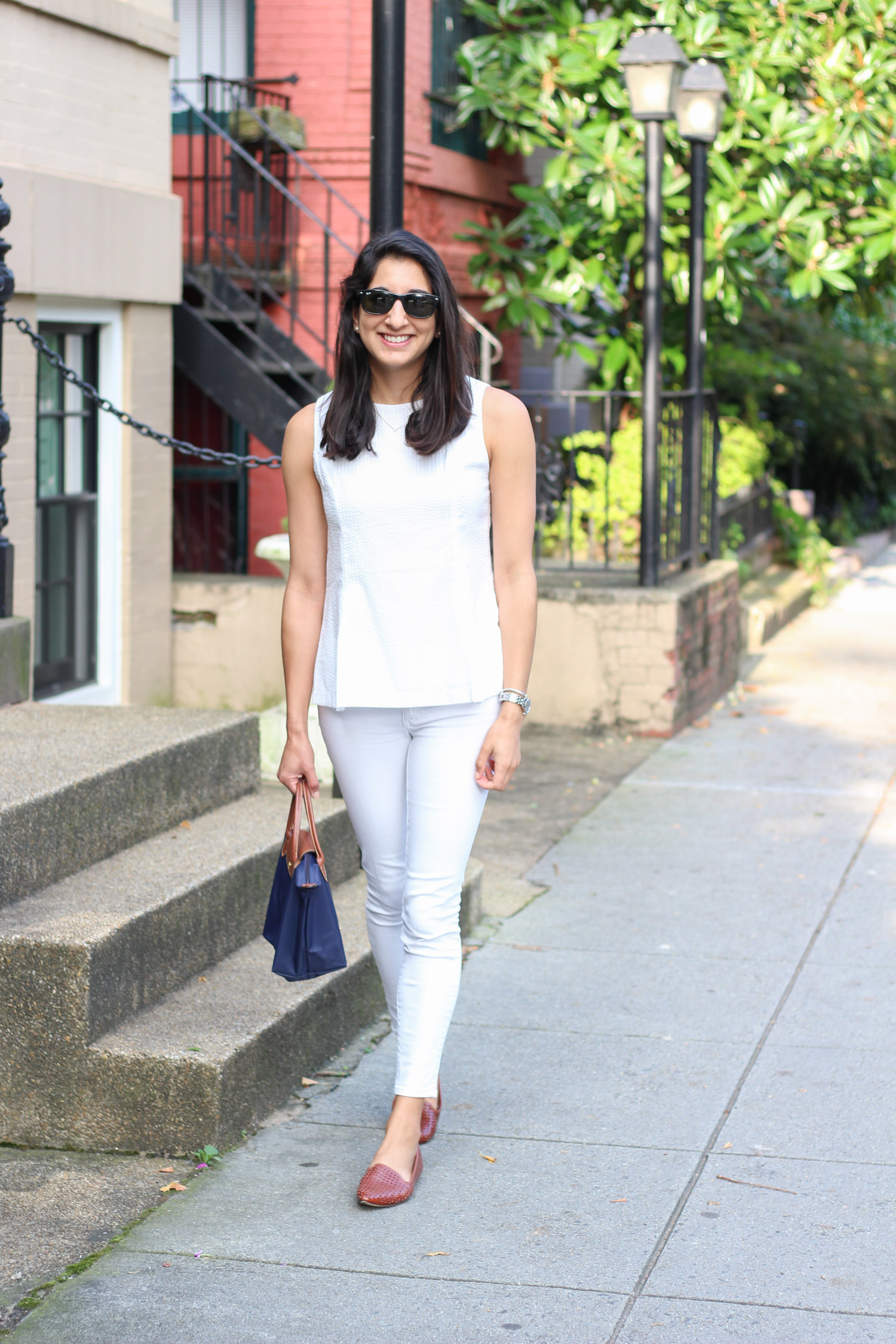 All white summer outfit   Duffield Lane white seersucker top featured by popular DC fashion blogger, Monica Dutia