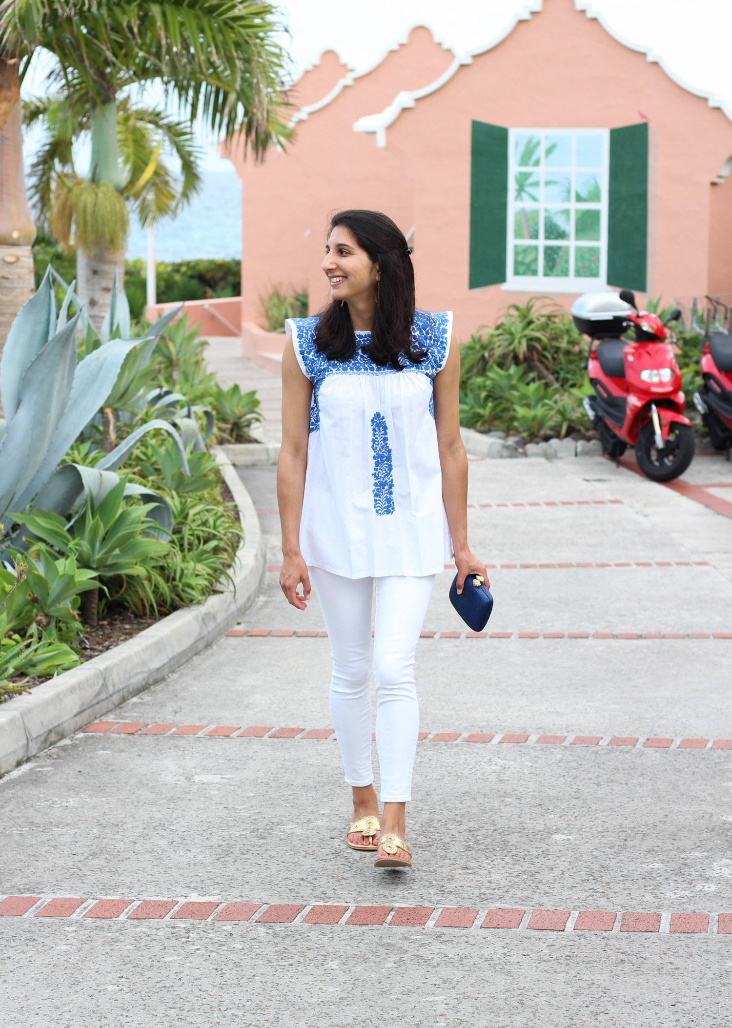 Mi Golondrina blue and white top featured by popular DC style blogger, Monica Dutia