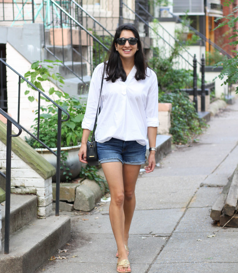 Everlane crisp white shirt styled by popular DC fashion blogger, Monica Dutia