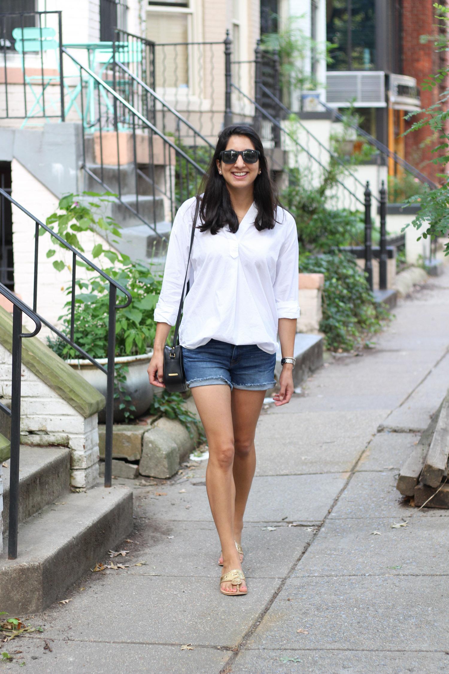 Everlane crisp white shirt styled by popular DC fashion blogger, Monica Dutia